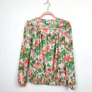 Vero Moda Neon Green & Orange Floral Blouse